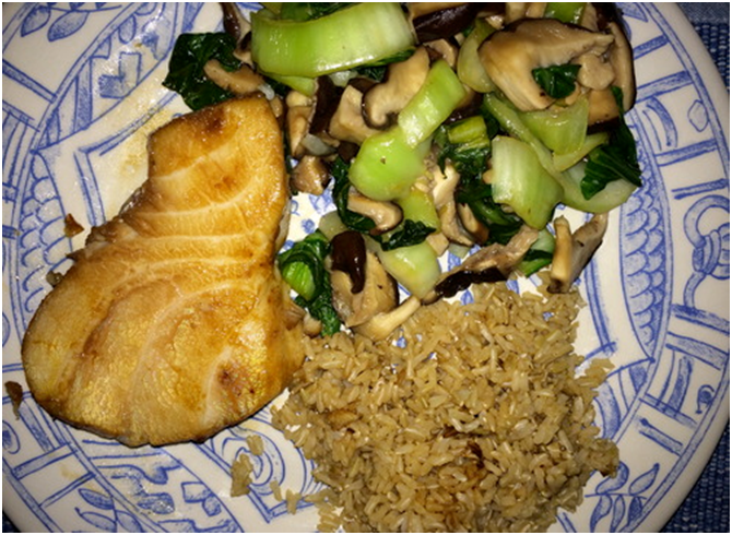 Grilled Chilean Sea Bass with Baby Bok Choy & Shiitake Mushrooms