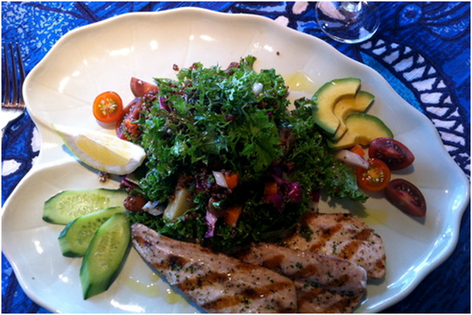 Mama's Fish House Kale Salad with Grilled Fish