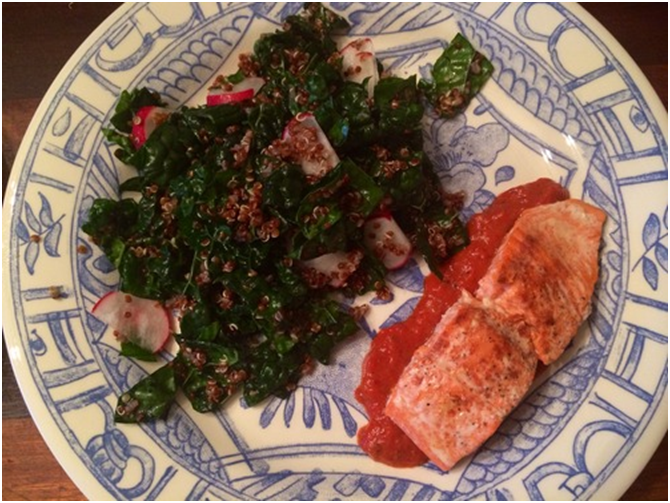 Wild Salmon over Kale and Red Quinoa with Red Pepper Coulis