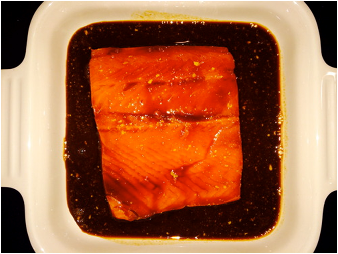 Soy Glazed Salmon with Greens and Shiitake Mushrooms