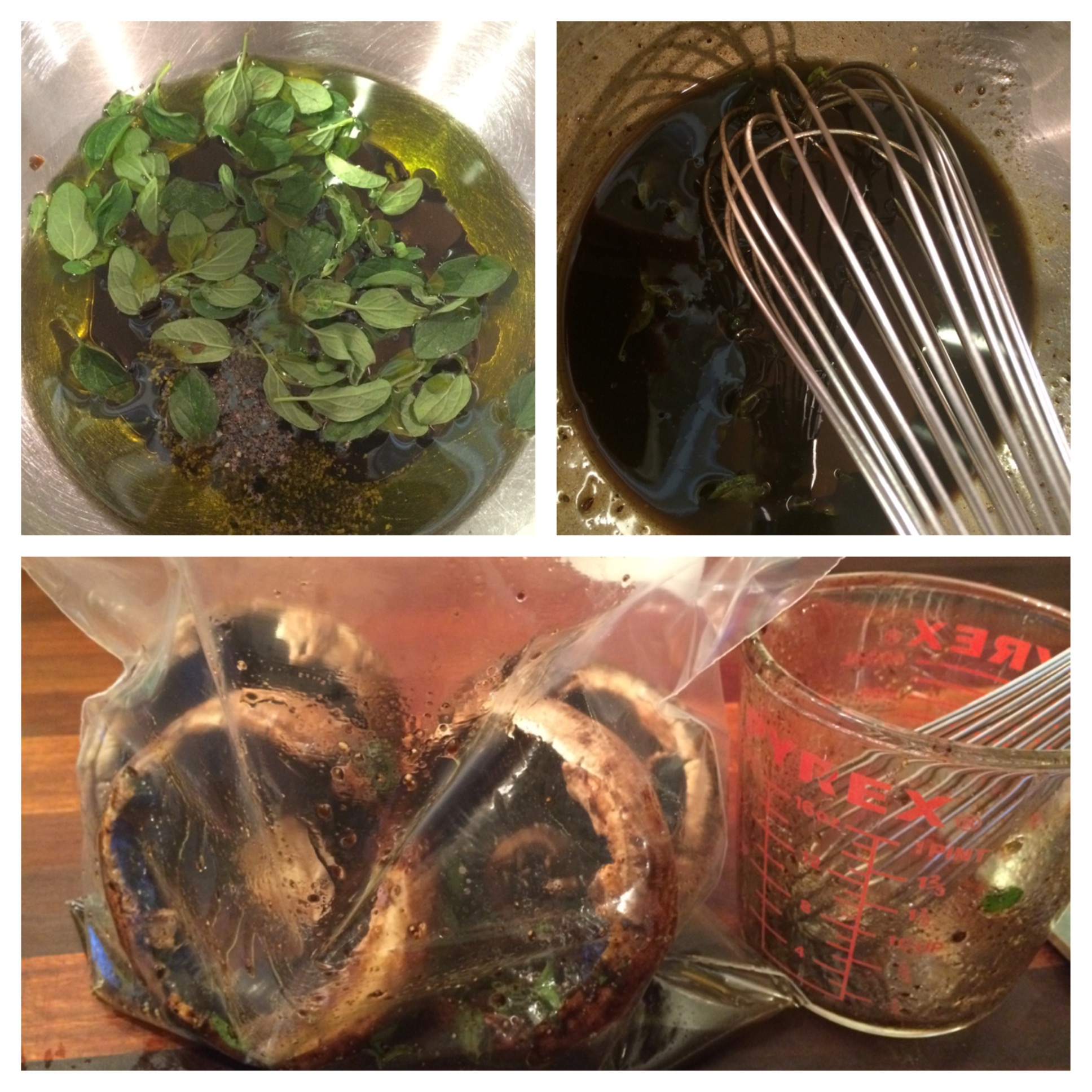 The first time I made this I used a small mixing bowl for the marinade. The second time, I used a large pyrex mixing cup, as pictured at bottom. This makes the pouring of the marinade very easy.