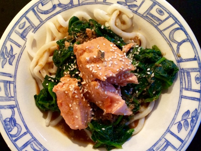 Soy Ginger Glazed Salmon with Spinach and Udon Noodles